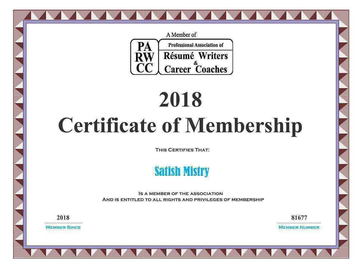 PARW-CC Membership Certificate Professional Association of Resume Writers